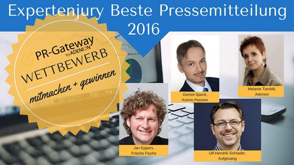 Expertenjury zum Wettbewerb der besten Pressemitteilung 2016